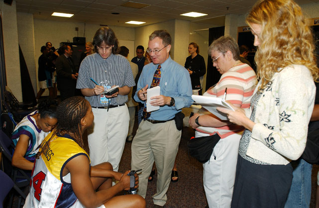 Tamika Catchings, the 2002 WNBA Rookie of the Year, talks to reporters before the All-Star Game in Washington, D.C.