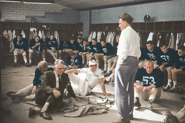 "TCU Coach Othol ""Abe"" Martin talks to his team before their game against Syracuse in 1957."