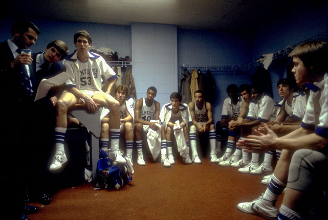 The Kentucky Wildcats share a quiet moment before taking the court for their 1978 Final Four game against Arkansas. Kentucky won and went on to claim its fifth national championship with a 94-88 win over Duke.