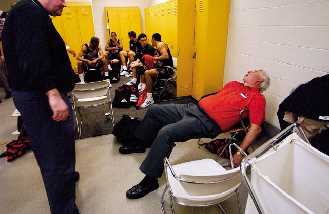 Texas Tech coach Bob Knight crashes after a Texas Tech win in 2002.