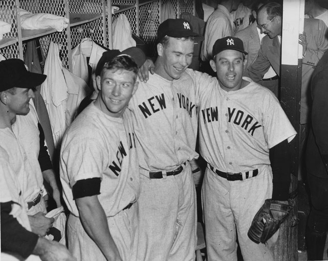 Mickey Mantle and the Yankees celebrate after winning the 1952 World Series.