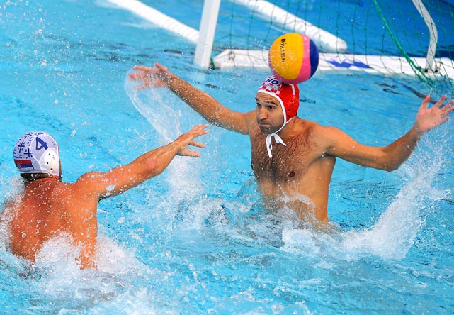 Serbia's Vanja Udovicic tries to score against Croatia's Josip Pavic during their European Waterpolo Championships semifinal on Sept. 9 in Zagreb. Croatia defeated Serbia 10-9 then defeated Italy in the finals to win the championship.