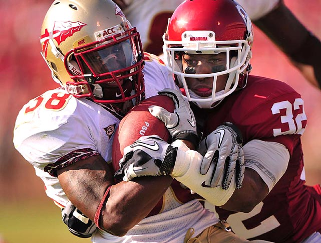 Florida State running back Jermaine Thomas had little room to operate during a 47-17 loss to Jamell Fleming and Oklahoma in Norman on Sept. 11.