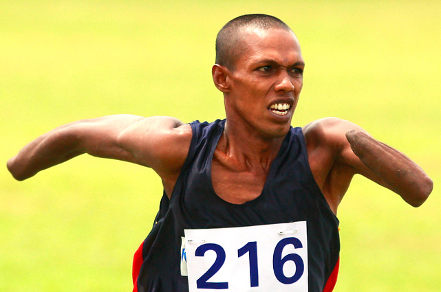 A disabled soldier runs during an annual disabled soldiers sports meet at the army headquarters Sept. 23 in Colombo, Sri Lanka. Thousands of soldiers were left disabled at the end of the three-decade long internal conflict between the Liberation Tigers of Tamil Eelam and the Sri Lankan government. The conflict ended in May 2009.