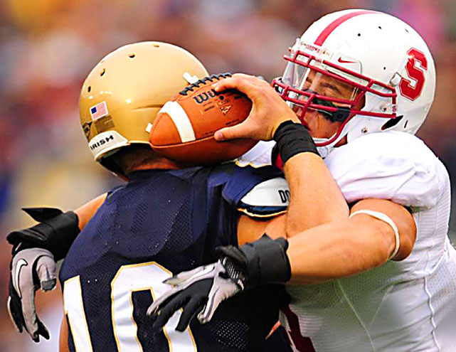 Stanford linebacker Shayne Skov forces Notre Dame quarterback Dayne Crist to fumble during the Cardinal's 37-14 victory in South Bend, Ind.