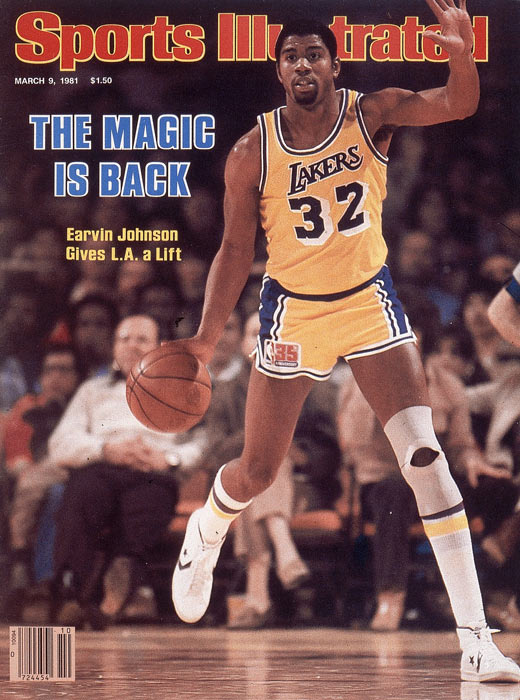 "Drafted by the Lakers with the first overall pick in the 1979 draft, Earvin ""Magic"" Johnson spent all 13 years of his NBA career in Los Angeles.  He led the Lakers to five titles and became the first rookie to be named NBA Finals MVP."