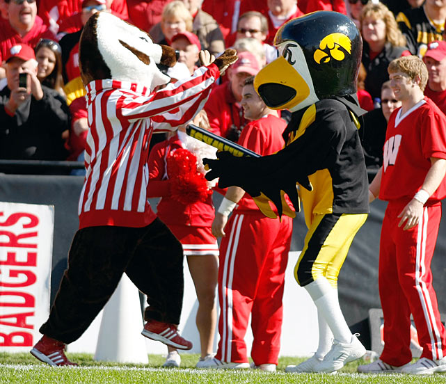 Unlike most mascots, Iowa's Herky the Hawk sports a hard headpiece similar to a football helmet.  Accordingly, it makes no sense for Herky to also be given the advantage of a thunder stick in his dispute with Wisconsin's Bucky Badger.  But no one said mascot brawls were fair.