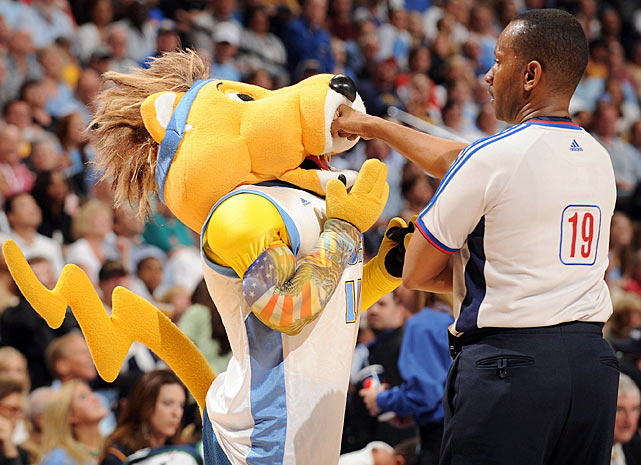 Referee James Capers stopped the Denver Nuggets mascot in his tracks when Rocky tried to enter the game.  While Capers wasn't fooled, Rocky does do a convincing impression of Nuggets center Chris Andersen.