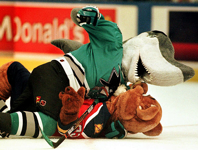San Jose Shark mascot S.J. Sharkie was so eager to take down Florida Panthers mascot Stanley C. Panther that Sharkie didn't even bother to drop his gloves, a faux paus in even the mascot brawling world.