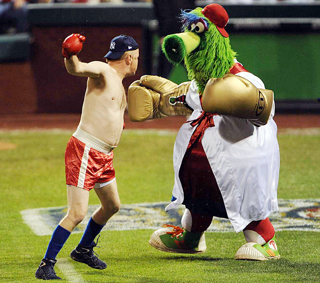 Luckily for this brawler, the Phillie Phanatic left his ATV in the dugout before this sparring session.