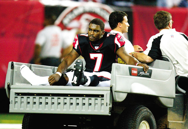 Vick's fourth season was a disappointment as the Falcons QB fractured his right fibula during a preseason game and was forced out of action for 12 weeks.