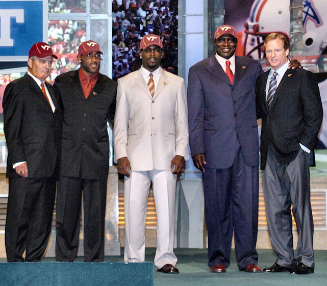 Virginia Tech coach Frank Beamer and NFL commissioner Roger Goodell pose with former Tech players DeAngelo Hall, Michael Vick and Bruce Smith before the start of the NFL draft. The commissioner asked the alums to attend the draft in the aftermath of the Virginia Tech massacre in which a student killed 32 people during a shooting spree.