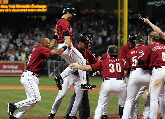 Game 4 of the 2005 NLDS just wouldn't end.  After falling behind the Atlanta Braves 6-1 going into the eighth inning, the Houston Astros miraculously tied the game behind clutch home runs from Lance Berkman and Brad Ausmus.  Then, after 8 1/2 consecutive scoreless innings, rookie Chris Burke, who entered the game as a pinch-runner, lined a home run into the left field stands, ending the longest postseason game ever played and launching the Astros into the NLCS.