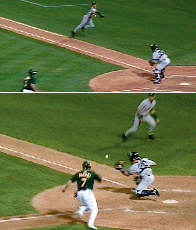 In possibly the most iconic play of his legendary career, Yankees shortstop Derek Jeter saved New York's season in Game 3 of the 2001 ALDS against the Oakland Athletics.  The Yankees trailed the best-of-five series two-games-to-none but had a 1-0 lead in the top of the 7th when Oakland's Terence Long doubled down the right field line.  With the A's Jeremy Giambi lumbering around third, Shane Spencer's relay throw sailed over cutoff man Tino Martinez. Jeter raced towards the ball, grabbed it on the first base line and flipped it sideways to catcher Jorge Posada, who tagged Giambi out.  The stunned A's never recovered as the Yankees went on to win the series three games to two.