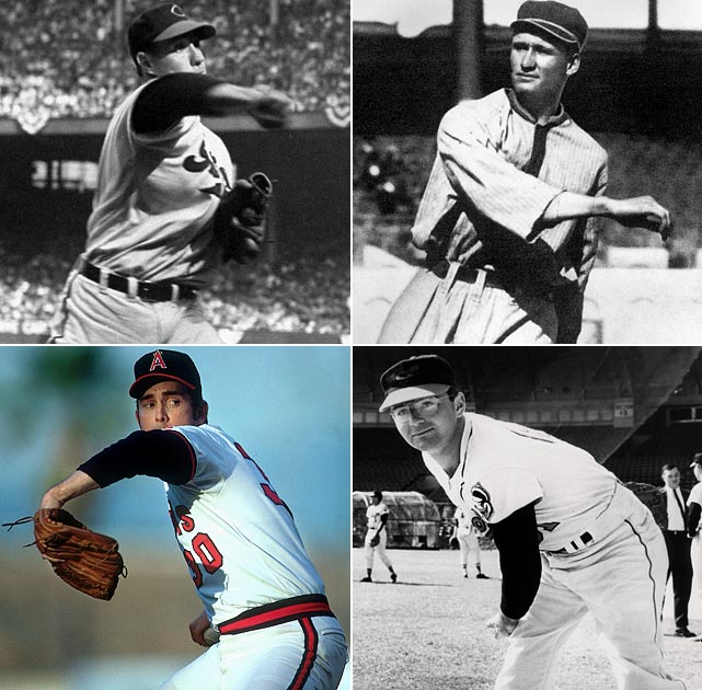 While Nolan Ryan holds the official Guinness record for fastest pitch (100.9 MPH, recorded in 1974), he isn't the only old-timer who could have given the current crop of flamethrowers a run for their money if the radar gun had been around. (clockwise from top left) Bob Feller, Walter Johnson, Steve Dalkowski, Nolan Ryan.