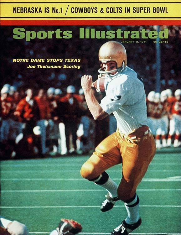 As a starting quarterback at Notre Dame ,  Joe Theismann compiled a career record of 20-3-2 and set a plethora of Notre Dame passing records.  In 1970 he passed for 2,429 yards and 16 touchdowns.  His accolades were not enough to surmount Jim Plunkett, who was the runaway winner with 2,229 overall points, the sixth highest in Heisman history.