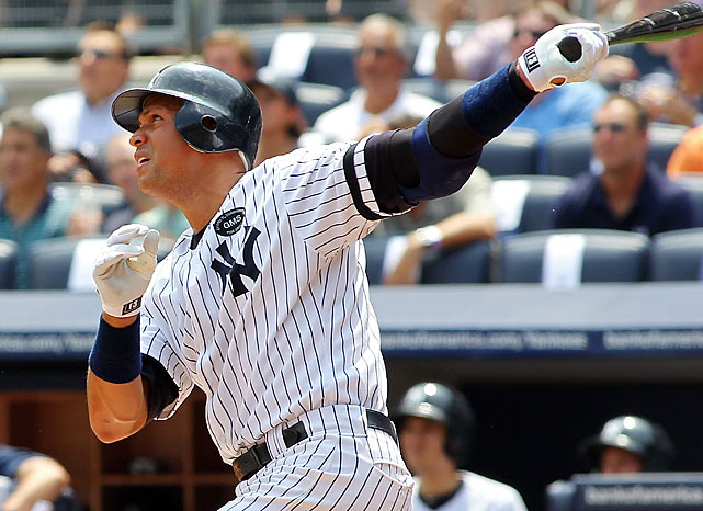 Just as he did when he was chasing his 500th home run in 2007, Alex Rodriguez took his time hitting his milestone homer. He went 12 games and 50 plate appearances between 599 and 600 before finally becoming the seventh player with 600 career home runs against the Blue Jays in Yankee Stadium. Rodriguez's home run pace picked up after that, and he finished with his 13th consecutive season of 30 HRs and 100 RBIs, a major league record, as the Yankees clinched yet another postseason berth.