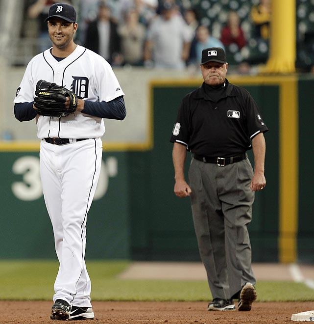 Galarraga came within one out of throwing baseball's third perfect game in less than a month, but was robbed of his place in history when first base umpire Jim Joyce mistakenly called the Indians' Jason Donald safe at first base for an infield single with two out in the ninth. Joyce admitted his mistake immediately after the game and apologized to Galarraga, who settled for a one-hit shutout and a uniquely memorable moment in the game's history.