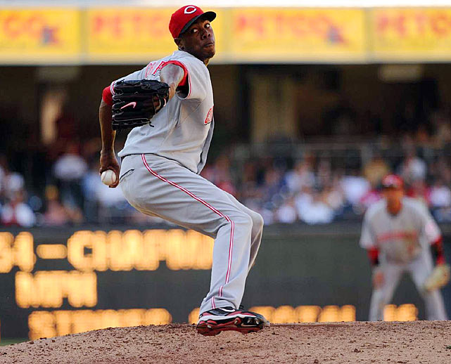 The Reds were the surprise winners of the race to sign Chapman, a hard-throwing Cuban defector, in the offseason. After keeping him in the minors for most of the year, he was promoted to the majors at the end of August and immediately lit up radar guns, topping out as high as 103 mph. Chapman's domination down the stretch (16 K's in 11 1/3 IP) helped the Reds clinch their first postseason berth in 15 years.