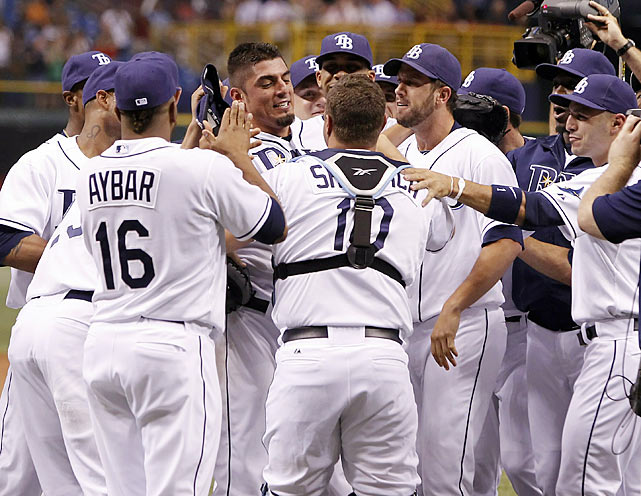 After being held hitless three times in little over a year, the Rays finally experienced being on the other end of a no-hitter when Matt Garza blanked the Tigers in late July. Detroit's Max Scherzer lost his no-hit bid in the sixth inning, but Garza finished the deal, allowing only a second-inning walk and facing the minimum 27 batters in his gem. It was part of another banner year for Garza and the Rays, who clinched their second postseason appearance in three seasons.