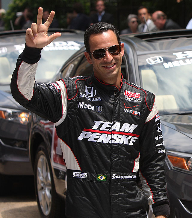 Three-time Indy 500 champ Helio Castroneves won the famed race in consecutive years (2001, 2002) and most recently took the top prize in 2010. The Brazilian driver gained mainstream notoriety after appearing on  Dancing with the Stars  in 2007.