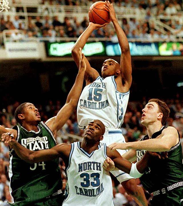 Interestingly, these Tar Heels handed that Princeton team its only regular-season loss (a closer-than-the-final 50-42 decision in Chapel Hill). You definitely can debate whether they were better than the 2005 Heels, a devastating offensive machine with four NBA lottery picks, but I found this version more compelling and they played in an era where there still was considerable upperclass talent in college basketball. This club gets completely lost in the discussion of the best college teams because of a surprising loss to Utah (with Keith Van Horn and Andre Miller) in the national semifinals. At 34-4 overall, with the high-flying excitement of the collegiate Antawn Jamison/Vince Carter combo, they win this comparison with their national champion brethren.
