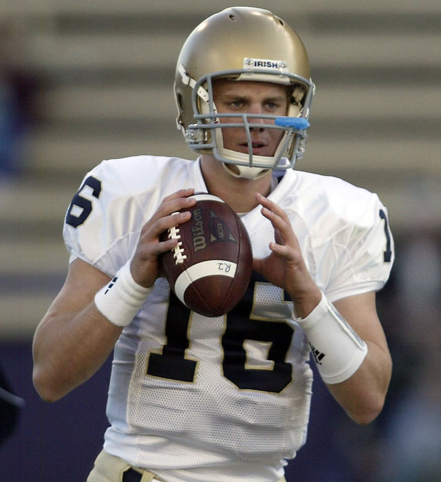 Following in his father Joe's Hall of Fame footsteps, Nate Montana has seen limited playing time as a quarterback at Notre Dame.  He originally joined the team as a preferred walk-on in 2008 before transferring to Pasadena Community College for a brief stint during his sophomore year.  Now back with the Fighting Irish, he's listed at No. 2 on the depth chart behind Dayne Crist.