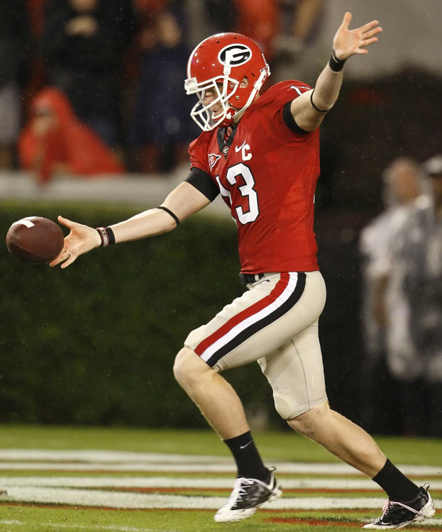 University of Georgia punter Drew Butler kick-started his career in 2009, when he led the nation in punting average while being named an All-American and the winner of the Ray Guy Award.  Butler, the son of former Bears and Cardinals kicker Kevin, is averaging 44.3 yards a punt through four games in 2010.