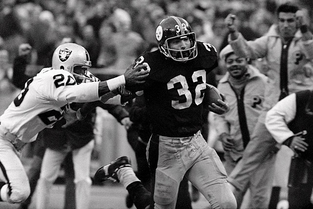 One of the greatest and most controversial plays in NFL history, the Immaculate Reception occurred during a 1972 AFC divisional playoffs game between the Oakland Raiders and the Pittsburgh Steelers.  Trailing 7-6, facing a fourth-and-10 with only 1:17 left to play, Terry Bradshaw launched a pass toward John Fuqua.  The ball bounced -- off who is still disputed -- and tumbled, end over end into the hands of Franco Harris.  So many aspects of the play are controversial to this day, but what can't be debated is that the play launched Harris and the Steelers to greatness.