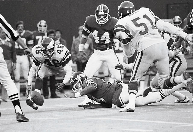 One of the few non-playoff games included on this list, The Miracle at the Meadowlands -- known simply as The Fumble in New York -- saw the Giants lose in the closing seconds of a 1978 regular season game simply because they couldn't kneel.  Up 17-12 over the Eagles, quarterback Joe Pisarcik only had to kneel to preserve a Giants victory. Offensive coordinator Bob Gibson however, called a run, and when Pisarcik tried to hand the ball to running back Larry Csonka, the ball came loose and Herman Edwards scooped it up and ran for a touchdown and the victory. In its aftermath, kneeling on the ball was legitimized league-wide.