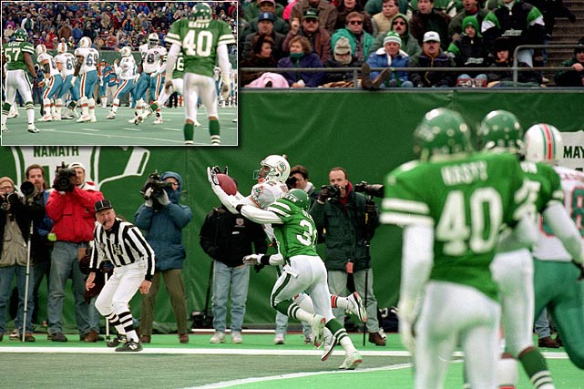 "Down 24-21 to the New York Jets with only 22 seconds left in a November 1994 game, the Dolphins and Dan Marino ran to the line of scrimmage screaming, ""Clock! Clock!""  The Jets defense, anticipating a spike, let their guard down.  Seeing a window of opportunity, Marino faked a spike and threw to Mark Ingram, who was wide open in the end zone as a result.  The Dolphins' victory marked Marino's 29th comeback and his fifth against the Jets."