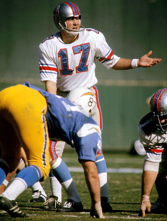 Houston Oilers quarterback Jerry Rhome glances to the sidelines for direction during the team's Week 6 matchup against the San Diego Chargers. After jumping out to a 31-14 lead early in the third quarter, the Oilers surrendered 17 straight points and the game ended in a 31-31 tie.