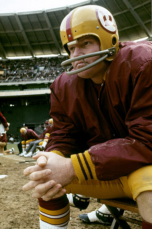 Washington quarterback Sonny Jurgensen watches the action during the team's 24-6 rout of the Philadelphia Eagles. At 36, Jurgensen continued to impress, tossing 23 touchdowns to only 10 interceptions as his Redskins stumbled to 6-8.