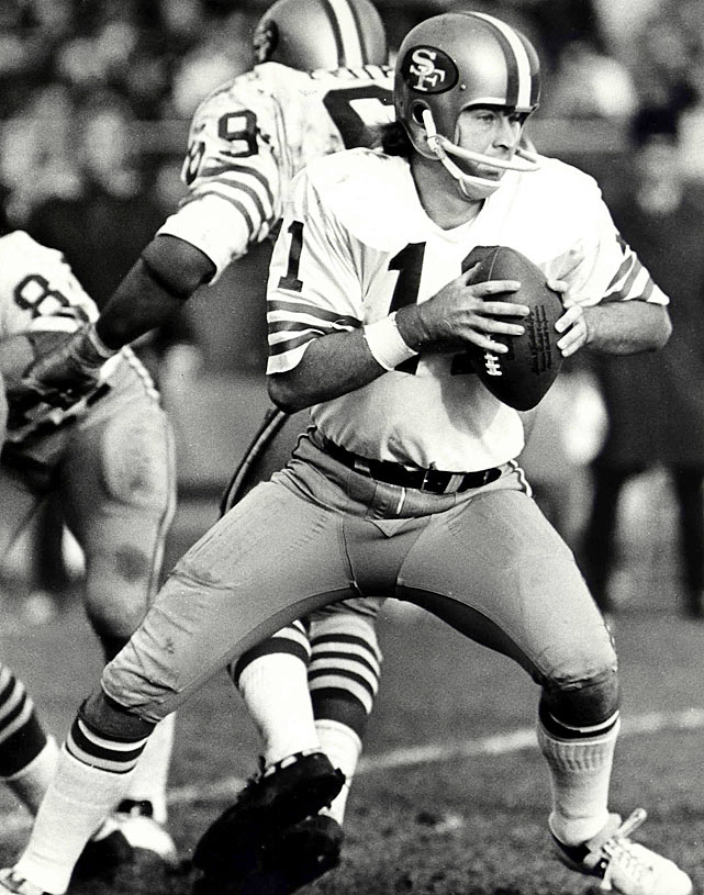 A former Heisman Trophy winner at the University of Florida, San Francisco quarterback Steve Spurrier drops after receiving the snap. Though the 49ers selected Spurrier with the third overall pick in the 1967 draft, he saw limited action. Spurrier spent all 14 games of the 1970 season backing up John Brodie.