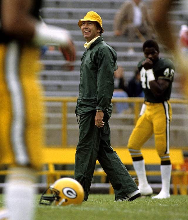 Head Coach Bart Starr prepares his Green Bay Packers before they take on the Chicago Bears on Sept. 7. Starr, a two-time Super Bowl winning quarterback for the Packers, was less impressive in his sideline role, going a lowly 52-76 in nine seasons as head coach. Green Bay won this game 12-6.