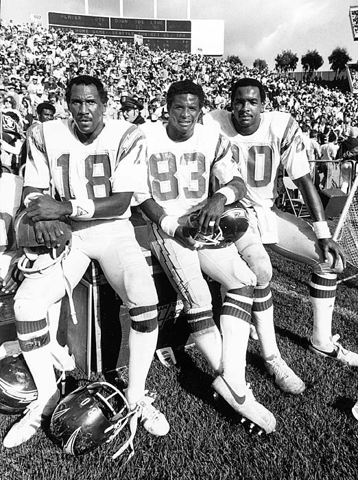 San Diego Chargers receiving targets Charlie Joiner, John Jefferson and Kellen Winslow pose for a photo during an Oct. 12 game against the Oakland Raiders. The trio combined for 340 receiving yards on the day in a 38-24 loss. San Diego met the Raiders again in the AFC Championship Game, losing a closer 34-27 contest.