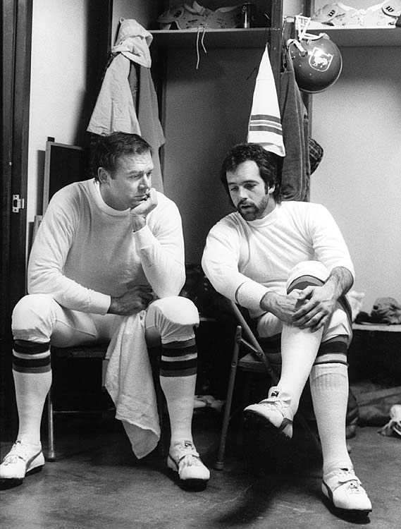 Denver Broncos quarterbacks Craig Morton (left) and Matt Robinson chat before their game against the Oakland Raiders on Dec. 1. Morton got the start, but the two split time throughout the 1980 season, with Morton starting nine games and Robinson seven.
