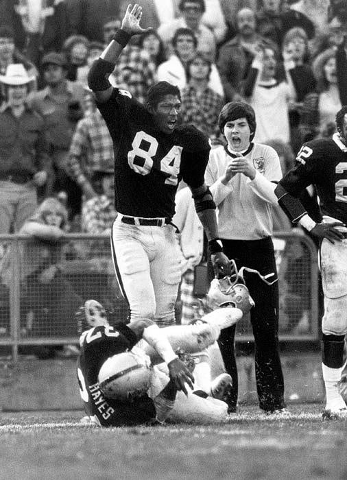 Derrick Ramsey of the Oakland Raiders celebrates teammate Lester Hayes' pass coverage during their playoff matchup with the Houston Oilers on Dec. 28. Ramsey and the Raiders did a lot of celebrating in the 1980-81 season, winning the franchise's second Super Bowl title.