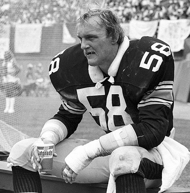 Amid his sixth consecutive Pro Bowl campaign, feared Pittsburgh Steelers linebacker Jack Lambert watches from the sideline during a Sept. 14 game against the Baltimore Colts. During his Hall of Fame career, Lambert participated in the Pro Bowl nine straight times and won the NFL Defensive Player of the Year Award twice.