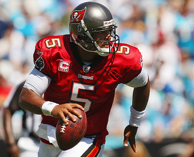 In last year's loss to the Carolina Panthers, Tampa Bay Buccaneers quarterback Josh Freeman threw five interceptions. Thus, it must have been particularly satisfying for the young quarterback to lead the Buccaneers to a 20-7 victory over the Panthers this year.  The biggest measuring stick of Freeman's growth came midway through the second quarter on a third-and-17.  Freeman took the snap and displayed his innate elusiveness by shrugging off two Panthers defenders.  Keeping his eyes downfield, Freeman found a waiting Kellen Winslow for a 40-yard gain and a step toward elite quarterback status.