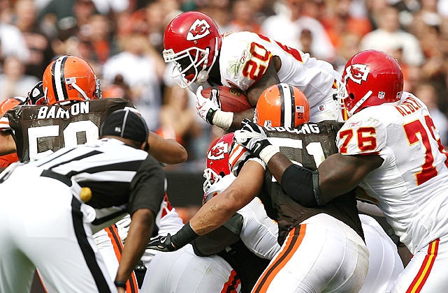 Immediately after the two-minute warning, the Kansas City Chiefs were faced with a fourth-and-one that threatened their 16-14 lead over the Cleveland Browns.  Having confidence in his players, Chiefs coach Todd Haley decided to go for it and called Thomas Jones' number.  Jones, another player many thought was washed-up, hurdled the line, securing the first down and the game for the Chiefs.