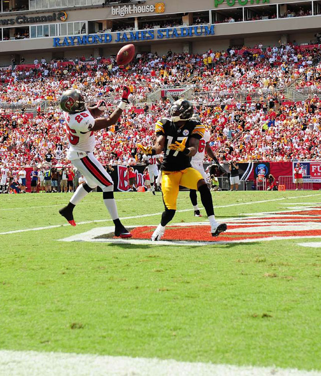 Known for his breakaway speed, Steelers wideout Mike Wallace streaks down the sideline midway through the second quarter.