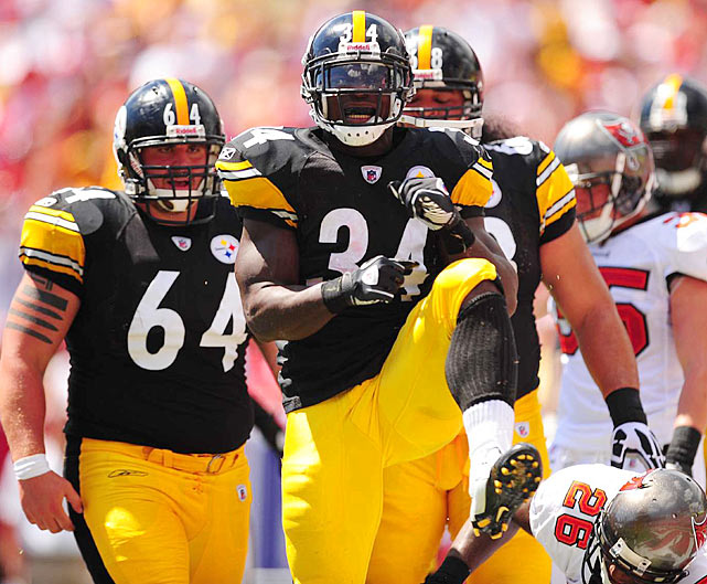 Mendenhall struts after breaking off a big run.  The Steeler back had carries of 34, 18 and 17 yards on the day.