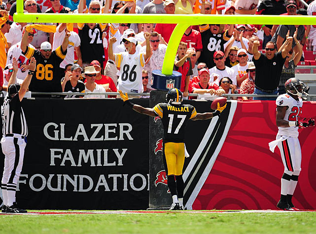 Wallace ignites the Steelers faithful that made the trip south to Raymond James Stadium.  Pittsburgh fans are known as some of the most well-traveled supporters of any professional sports franchise.