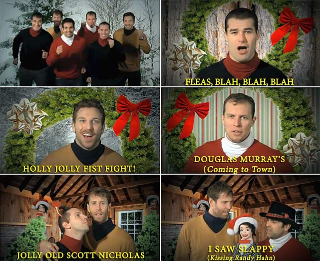 The San Jose Sharks wanted to wish everyone a Merry Christmas in 2010 with their own version of a Time-Life holiday album commercial.  Patrick Marleau, Joe Thornton, Dan Boyle, Dany Heatley, Scott Nichol and Ryan Clowe dance and sing, if you can call it that, as they promote their A Capella Holiday Album, available on 8-track and cassette.  Click here for video.