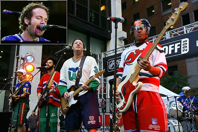 You can't get two more aptly-named acts than that for a hockey game. Five For Fighting's name was inspired by a Marty McSorley-Bob Probert bout witnessed by leader John Ondrasik (inset). The Zambonis (pictured at the 2008 NHL Fan Festival) are renowned for their (naturally) hockey-themed albums and songs.