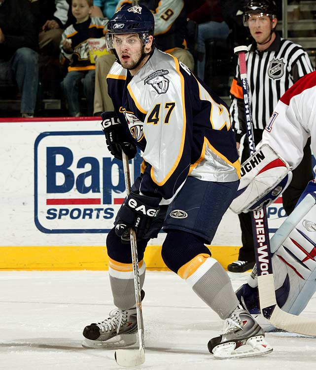 He had two productive seasons in Nashville, including a 26-goal, 58-point campaign in 2007-08 and is still wearing 47 ... in Russia. He got our nod over offensively-gifted but defensively-challenged blueliner Marc-Andre Bergeron.