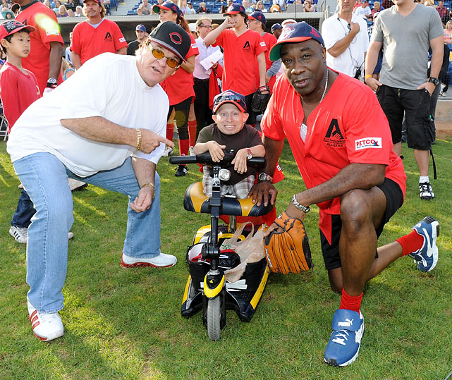 Rose, Verne Troyer and Michael Clarke Duncan at Steve Garvey's Celebrity Softball Game for ALS.