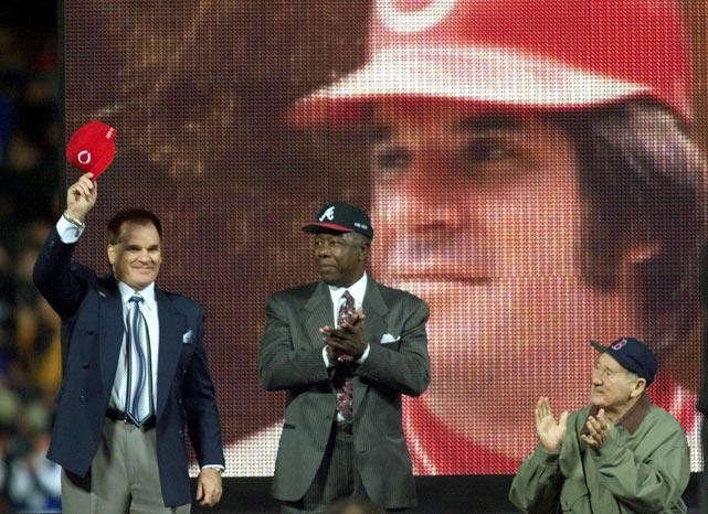 Pete Rose tips his cap after being announced to the MLB All-Century team. It was Rose's first appearance at an official baseball event since he was banished from the game in 1988.