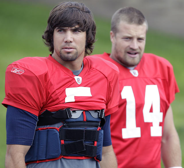 After watching Buffalo Bills quarterback Trent Edwards (5) throw for a meager 241 combined passing yards and two interceptions in Week 1 and 2 losses, head coach Chan Gailey has opted to start Ryan Fitzpatrick under center heading into the team's Week 3 game in New England.  A former Harvard grad, Fitzpatrick started eight times for the Bills in 2009.  Buffalo went 4-4 during that stretch.